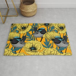 Fairy wren and poppies in yellow Rug