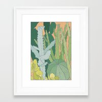 cacti Framed Art Prints featuring Cacti by Julia Walters Illustration