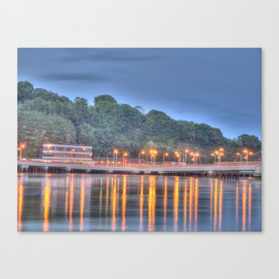 The Bridge over the Quay at Dusk Canvas Print