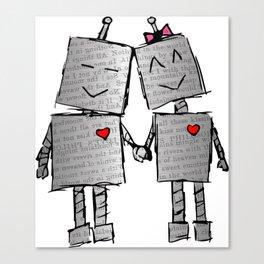 Lovebots Doodle Canvas Print