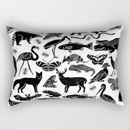 Linocut animals nature inspired printmaking black and white pattern nursery kids decor Rectangular Pillow