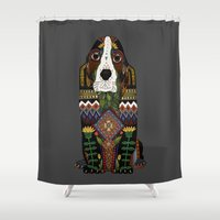 the hound Shower Curtains featuring Basset Hound pewter by Sharon Turner