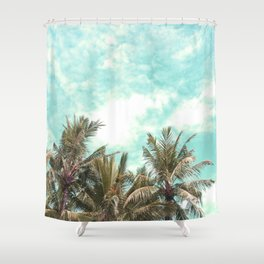 Wild and Free Vintage Palm Trees - Kaki and Turquoise Shower Curtain