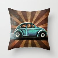volkswagon Throw Pillows featuring Punch Bug by Cindy Thornton