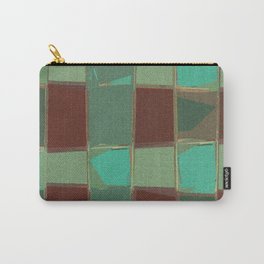 Speckled Geometric Patch Work Shapes Green Brown Carry-All Pouch
