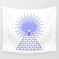 evil eye Wall Tapestries featuring EVIL EYE by Anna Lindner