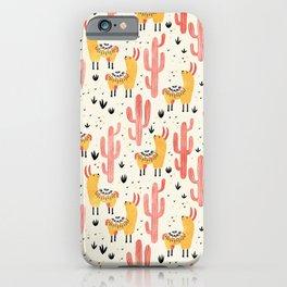 Yellow Llamas Red Cacti iPhone Case