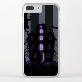 Be it ever so Haunted, there's no place like Home - Dark Gray Clear iPhone Case