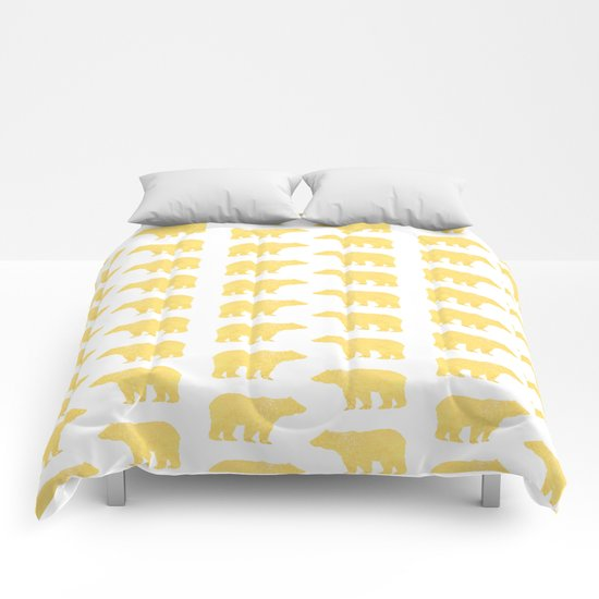 Gold Bears - foil glitter sparkle gold pattern print bear golf golfing nature trendy hipster sports Comforters