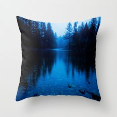 Forest Reflection Nature Lake - Blue Forest Trees Water Reflection Throw Pillow