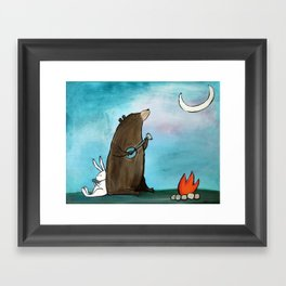 Campfire Bear Framed Art Print