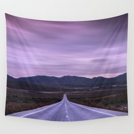 """""""At the end of the road"""" Purple sunset Wall Tapestry"""