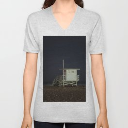 Life Guard Tower Night Beach Seascape Ocean View Colored Wall Art Print or Wall Canvas Print Unisex V-Neck