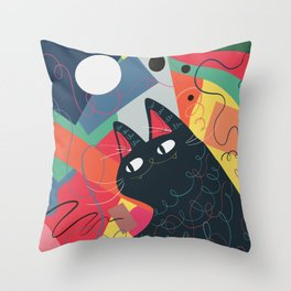 Trumpet Cat Throw Pillow