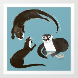 Asiatic and African clawless otter Art Print