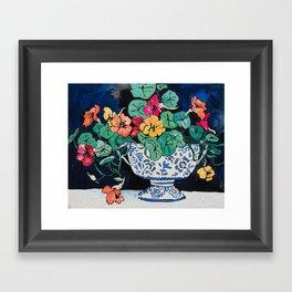 Nasturtium Bouquet in Chinoiserie Bowl on Dark Blue Floral Still Life Painting Framed Art Print