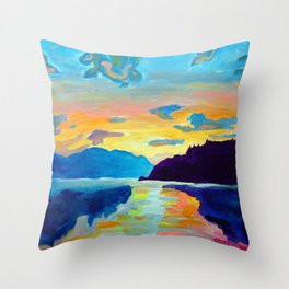 Crossing Lake Okanagan Throw Pillow