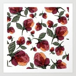 Prairie Rose Flower in Red and Orange Art Print
