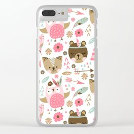 Pink Boho Animals Clear iPhone Case