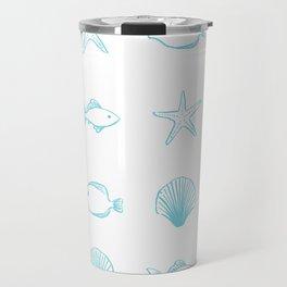 Sea Creatures Pattern - Light Blue Travel Mug