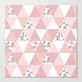 Quilt quilter cheater quilt pattern florals pink and white minimal modern nursery art Canvas Print