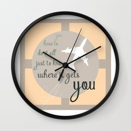 Travel quote- inspirational quote- wanderlust quote- airplane- plane- success Wall Clock