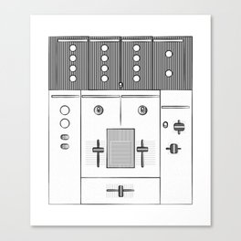 Dj Mixer illustration - 90s music equipment - sketch pop art drawing Canvas Print