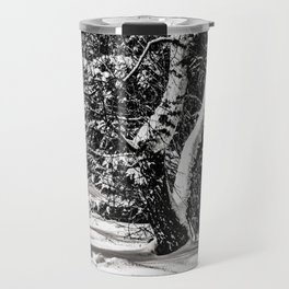 Winter Forest, Birch Trees, Snow in black and white Travel Mug