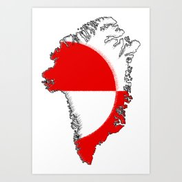 Greenland Map with Flag Art Print