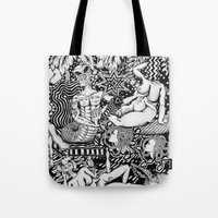 bisexual Tote Bags featuring Psychedelic Visions of the Bisexual Shaman Chicks by cahill wessel