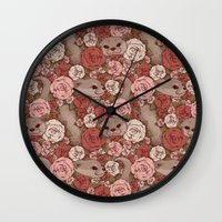 otters Wall Clocks featuring Rose Otters by FallenZephyr