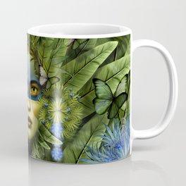 """Tropical green and indigo jungle Woman"" Coffee Mug"