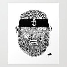 The One Armed Sushi Chef (Bearded Man Wearing Anchor Headband) Art Print