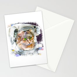 Space Cat Watercolor Stationery Cards