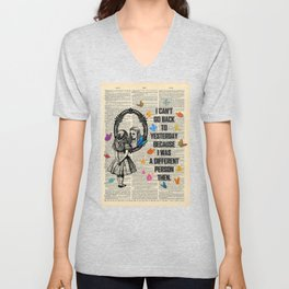 Alice In Wonderland Quote - Vintage Dictionary Page Unisex V-Neck