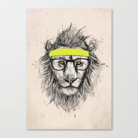 hipster lion Canvas Prints featuring Hipster lion (light version) by Balazs Solti
