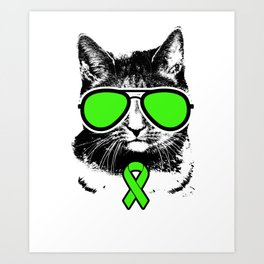 Vintage Lime Green Ribbon Awareness Cat Art Print
