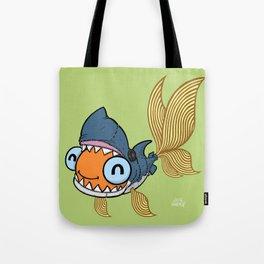 Goldfish in Shark Costume Tote Bag