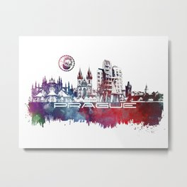 Prague skyline city Metal Print