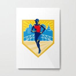 Triathlete Marathon Runner Retro Metal Print