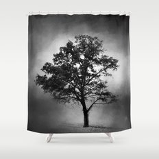 Black and White Cotton Field Tree Shower Curtain