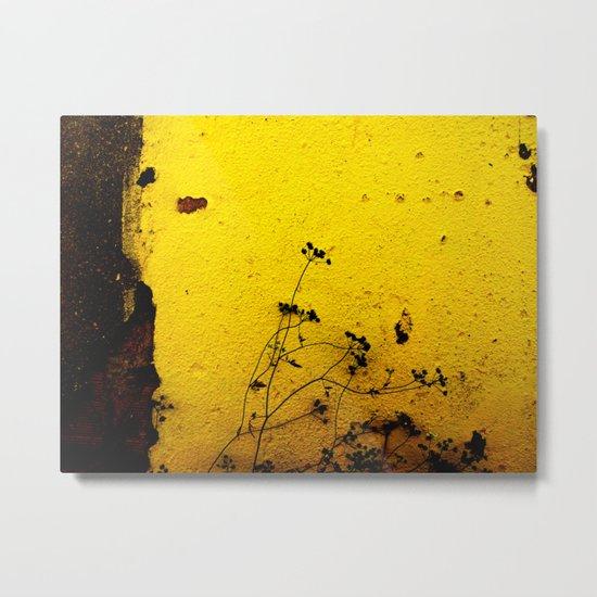 Minimal flora - Yellow wall and flowers Metal Print