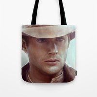 dean winchester Tote Bags featuring Dean Winchester from Supernatural by Annike