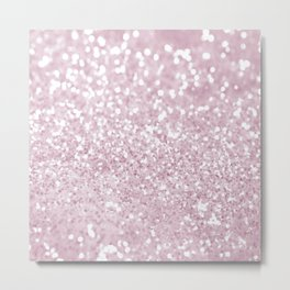Elegant Girly Pink White Faux Glitter Metal Print