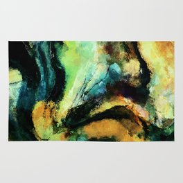 Yellow and Green Abstract Art / Surrealist Painting Rug