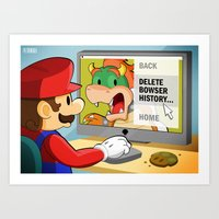 modern vampires of art history Art Prints featuring Bowser History by roboxstudios
