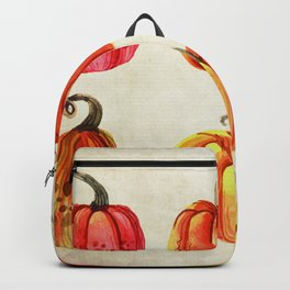 Autumn Gourds - Pumpkin Watercolor on Antique White Backpack