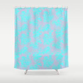Pink teal abstract fantasy Shower Curtain