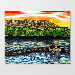 Couple in the Tubs below Turtleback - New Mexico Sunset Canvas Print