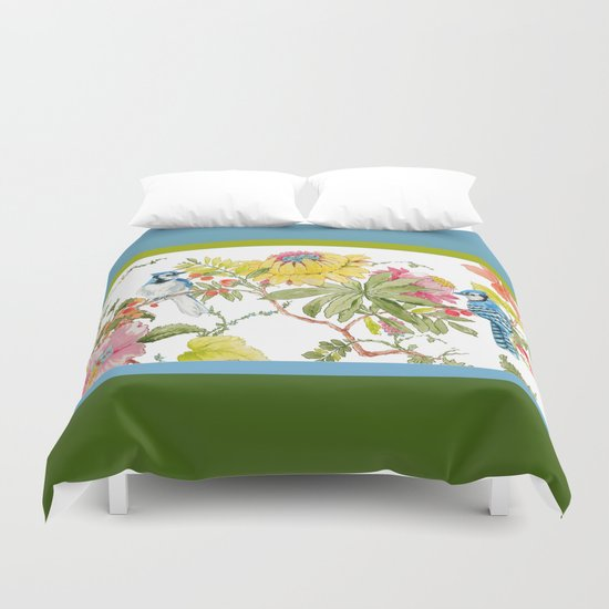 Bluejay Bird Day Floral Duvet Cover